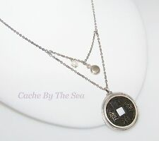 Silpada Brass Coin Pearl Sterling Silver Necklace Retired N1572