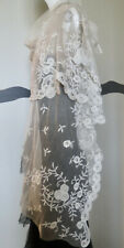 Vintage 1920s Shawl French Net Embroidery Flowers