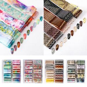 10Rolls Nail Art Foils Sticker Transfer Nail Tips PVC Flower 3D Nails Art