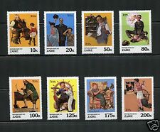 Zaire Complete Mnh Set #1002-1012 Norman Rockwell Stamps Africa