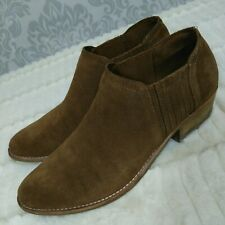 Steve Madden Courtst Ankle Booties Boots Womens 10 Tan Beige Suede Stacked Heel