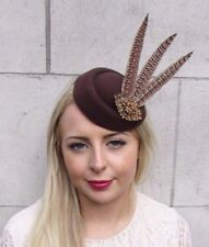 Brown Bronze Pheasant Feather Pillbox Hat Hair Fascinator Races Clip Vtg 3918