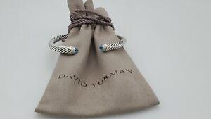 David Yurman Cable Classic Bracelet Blue Topaz & Diamond 5mm size small