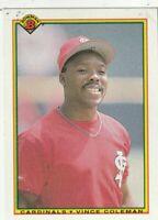 FREE SHIPPING-MINT-1990 Bowman Vince Coleman #198 CARDINALS PLUS BONUS CARDS