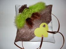 Coussin mariage pour alliances vert anis et chocolat