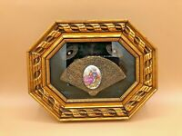 Fragonard Porcelain Medallion Elaborately Framed On Velvet in Gold Composite Fra
