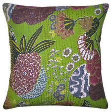 24x24 Green pillow throw Pillow Cover Kantha throw Pillow kantha cushion Cover
