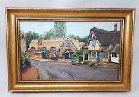 Original Framed Oil Painting Cottage Street Scene 49.5 x 33 cms