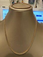 SET OF GOLD TONE TWISTED ROPE NECKLACE + BRACELET