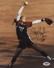 "Jennie Finch SIGNED w/ ""USA"" 8x10 Color Photo w/ PSA COA - OLYMPIC GOLD MEDALIST"