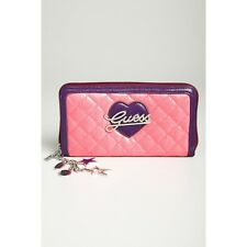 Guess - PA248543 Quilted Texture Faux Leather Zip Around Girl Wallet, Pink Multi
