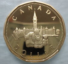 1867-1992 CANADA PARLIAMENT LOONIE PROOF HEAVY CAMEO DOLLAR COIN