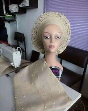 African Inspired Ready To Wear Gele with Matching Shoulder Aso oke