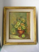Original Oil Painting Still Life Floral Bouquet Framed Canvas by Bea M. REES