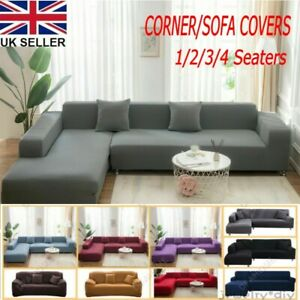 Stretch Sofa Covers Protector for L Shape Detachable Sectional Corner Couch UK