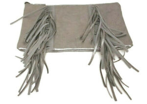 ION Color Brilliance Gray Travel Makeup Bag Fringed Clutch
