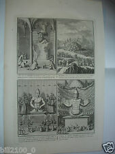 XVIIIé.gravure sur cuivre par Bernard Picard.Han roi desTartares/Confutius/Amida