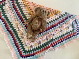 Dean's Rag Book Jointed Brown Vintage Teddy Bear + Handmade Crochet Blanket Gift