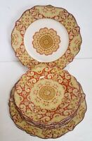 222 Fifth LYRIA SAFFRON 4 Dinner Plates & 4 Salad Plates NEW, UNUSED