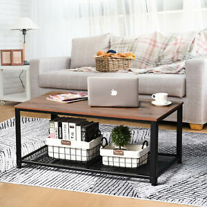 HOMCOM Coffee/End Table Industrial Style w/Storage Versatile Use For Home Office
