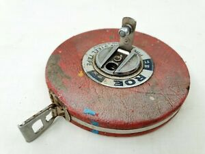 VINTAGE ROE FT66 MADE IN AUSTRALIA TAPE MEASURE RED LEATHER CASE | ANTIQUE |