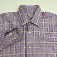 Peter Millar Button Up Shirt Men's Small Long Sleeve Purple White Yellow Plaid