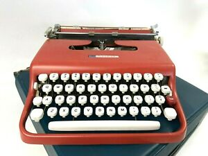1960s Sears Roebuck Courier Typewriter Salmon Red Portable Carrying Case *READ*