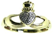 9Carat 9ct yellow gold diamond claddagh ring two hands heart friendship