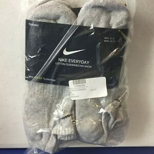 Nike Everyday Dri-Fit Cushioned Cotton No Show Socks 6 Pair SX6899-063 SZ 8-12