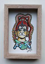 Monkey Magic - Gobbolino 2017 Pen Ink Framed Original Art Indian Yoga Drawing