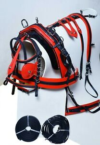 NEW DELUX BIOTHANE BREACHING TIE DOWN HARNESS BLACK RED COLOR FULL COB PONY SHET