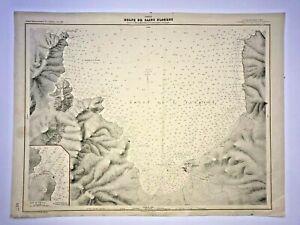 CORSICA SAINT FLORENT in 1887- DEPOT DE LA MARINE 1949 LARGE SEA CHART