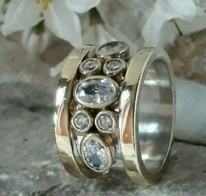 TURKISH HANDMADE JEWELRY 925 STERLING SILVER LADY WHITE TOPAZ BAND RING