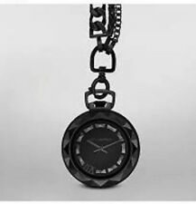 Karl Lagerfeld Triple Chain Necklace Pocket Watch Black KL1028 NIB $350 Limited