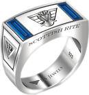 Men's Scottish Rite Sterling Silver Synthetic Sapphire Freemason Masonic Ring