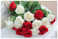 REAL TOUCH Moisture Rose (1-head) x 6 - artificial flowers - 9 colours available
