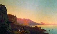 "Oil painting Ivan Constantinovich Aivazovsky - Evening in the Crimea, Yalta 36"""