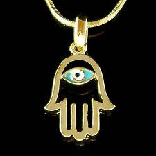 Jewish ~Hamsa Hand~ Fatima Turquoise Blue Evil Eye Gold PL Charm Necklace Unisex