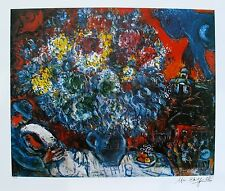 "MARC CHAGALL ""BOUQUET DE FLEUR ET AMANTS"" Facsimile Signed & Numbered Lithograph"