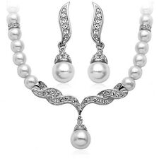 Wedding Jewelry Jewellery Set White Pearl & Crystal Necklace Studs Earrings S113