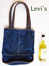 LEVIs Strauss purse bag denim tote shopping vtg red tag blue shoulder jean