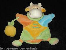 Doudou & Compagnie Marionnette Vache et son fruit jaune bleu vert beige orange