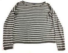 Vince Womens Gray White Striped Long Sleeve Linen Shirt Size XS