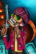Clavo by Dave Sanchez Canvas Giclee Art Print Tattoo Day of the Dead Sugar Skull