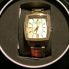 RELIC  Stainless Steel Crystal Gold  Tone Bling Watch NEW WITH TAG