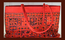 Embroidered silk  tote bag, purse, shoulder bag, red mirror work from India