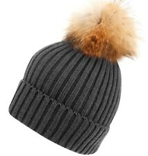 Winter chic Women Girls Knitted Fur Hat Real Raccoon Fur Pom Pom Beanie-CHARCOAL