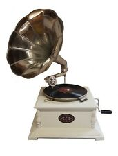 Reproduction Gramophone Player - 78 rpm vinyl phonograph White Colour
