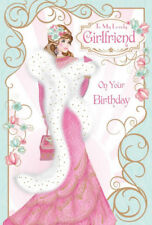 Art Deco  To My Lovely Girlfriend On Your Birthday Happy Birthday Greetings Card