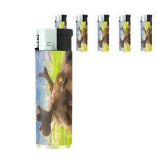 Scenic Alaska D6 Lighters Set of 5 Electronic Refillable Butane Moose